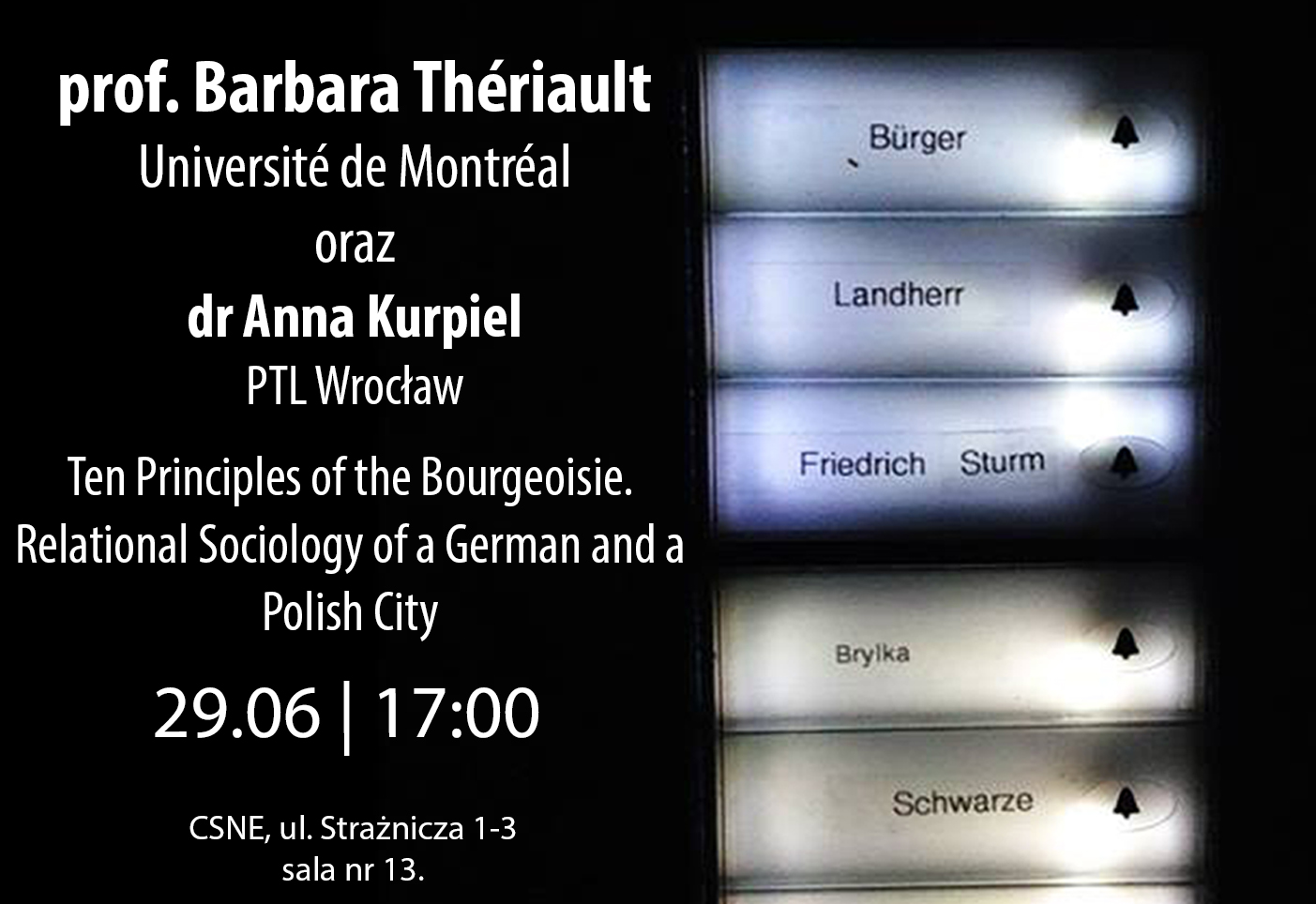 "wykład prof. barbary thériault oraz dr anny kurpiel – ""ten principles of the bourgeoisie. relational sociology of a german and a polish city"""