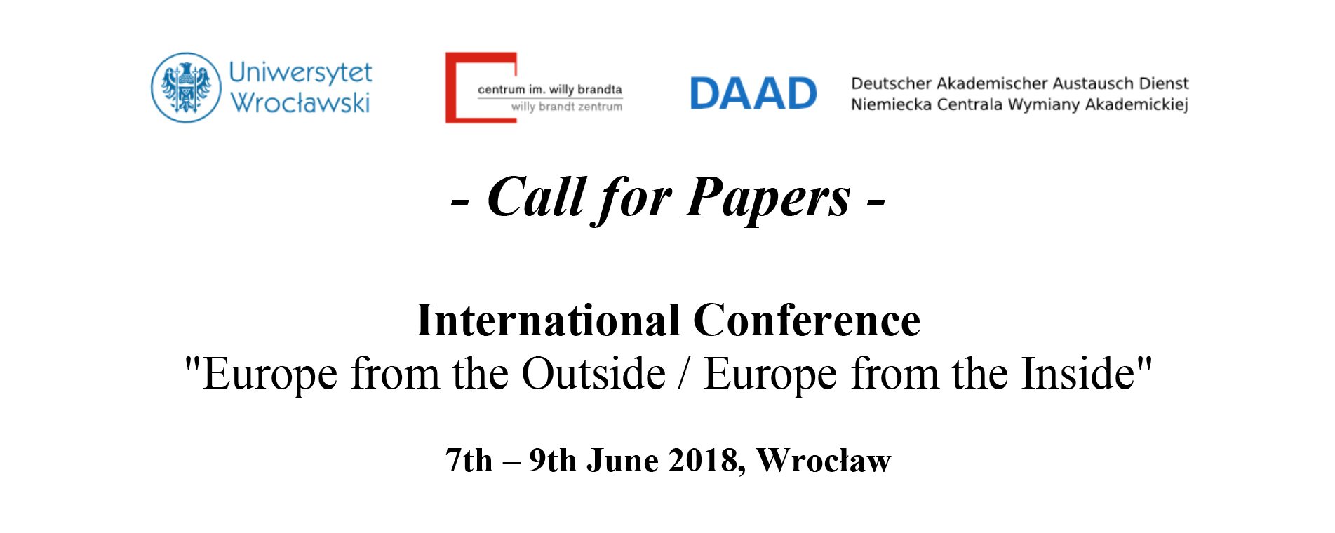 CfP: Europe from the Outside / Europe from the Inside